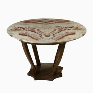 Vintage Italian Table in Stained Walnut and Marble