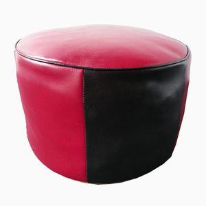 Pouf vintage rosso e nero, anni '70