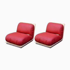 Sessel aus Lackiertem Holz, Messing & Verchromtem Metall, 1970er, 2er Set