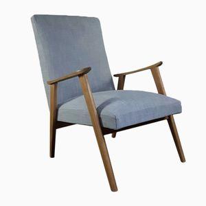 Mid-Century Scandinavian Armchair in Grey Cotton