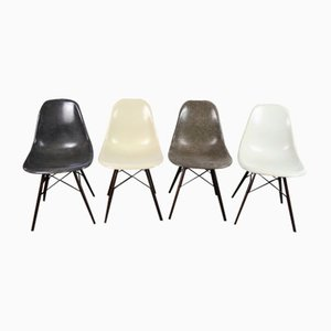 Vintage DSW Colored Fiberglass Side Chairs by Charles & Ray Eames for Herman Miller, Set of 4