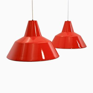 Large Danish Enamel Pendants in Red-Orange from Louis Poulsen, 1960s, Set of 2