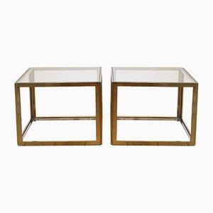 Mid-Century Siber & Gold Couchtische von Maison Jansen, 1970er, 2er Set