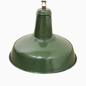 Grüne Industrielle Französische Vintage Industrie Fabriklampe