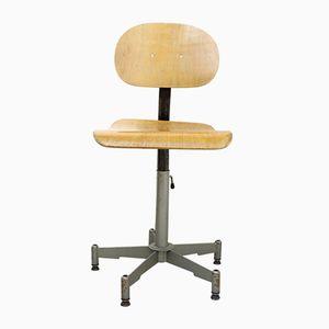 Chaise d'Usine Vintage Pivotante et Ajustable avec Dossier