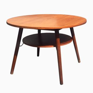 Round Teak Coffee Table with Floating Magazine Shelf, 1960s