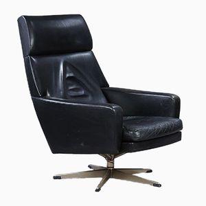 Vintage Danish Black Leather Easy Chair