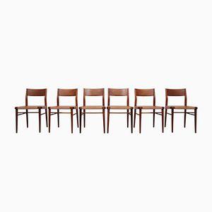 Vintage Esszimmerstühle aus Teak & Leder von Georg Leowald für Wilkhahn, 6er Set