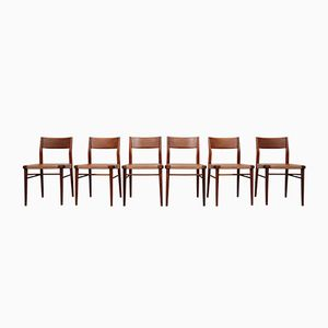 Vintage Teak & Leather Dining Chairs by Georg Leowald for Wilkhahn, Set of 6