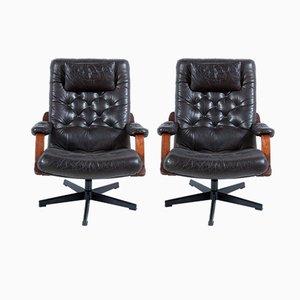 Italian Black Leather Swivel Armchairs, 1960s, Set of 2