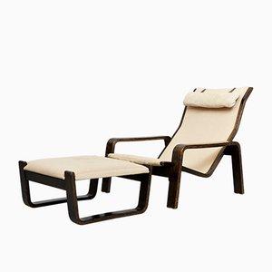 Mid-Century Pulkka Lounge Chair & Ottoman by Ilmari Lappalainen for Asko, 1960s