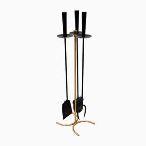 Brass Fireplace Tool Set by Gunnar Ander for Ystad-Metall, 1960s