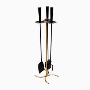 Messing Feuerstelle Werkzeug Set von Gunnar Ander für Ystad-Metall, 1960er