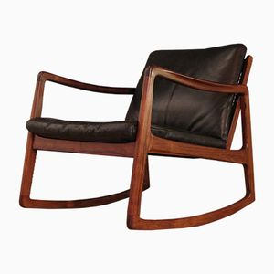 Model 120 Rosewood Rocking Chair by Ole Wanscher for France & Søn, 1960s