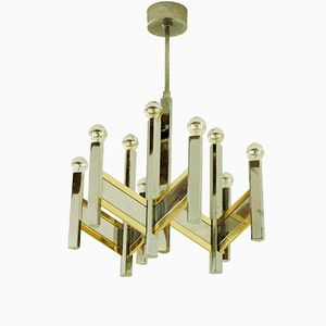 Vintage Italian Chevron Series Chrome & Brass Chandelier by Gaetano Sciolari