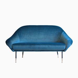 Dunkelblaues Italienische Zwei-Sitzer Sofa, 1950er