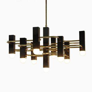 Chandelier Vintage en Laiton & Chrome Noir à Neuf Lampes par Gaetano Sciolari pour Boulanger