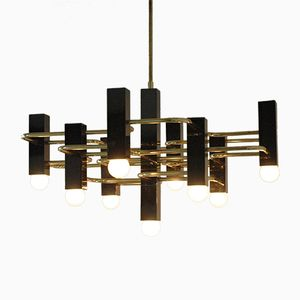 Vintage Brass & Black Chrome Nine-Light Chandelier by Gaetano Sciolari for Boulanger