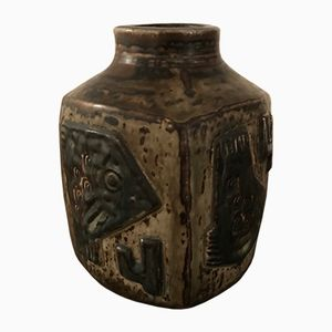 Vaso modello nr. 21926 in ceramica con pesce di Jørgen Mogensen per Royal Copenhagen, anni '70