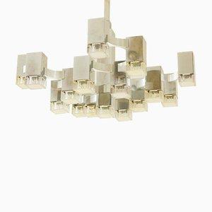 Chandelier Vintage Cubique à 17 Lampes par Gaetano Sciolari