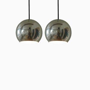 Lampes à Suspension Topan Vintage en Aluminium par Verner Panton pour Louis Poulsen, Set de 2