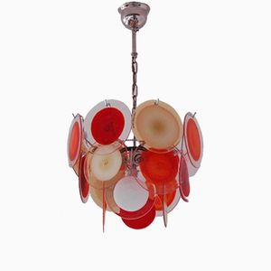 Vintage Multicolor Italian Chandelier with 18 Murano Glass Discs from Vistosi
