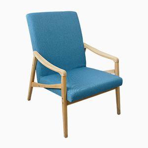 Mid-Century Czech Blue Armchair, 1960s