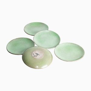 Green Ceramic Plates by Jacques & Dani Ruelland, 1950s, Set of 5