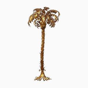 Große Vintage Palmen Stehlampe aus Vergoldetem Metall von Hans Kogl