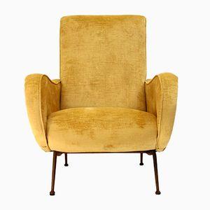 Italienischer Mid-Century Sessel mit Gelbem Bezug, 1950er