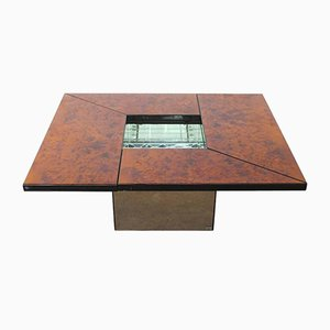 Vintage Burl Wood Lacquered Multi-Functional Coffee Table by Paul Michel