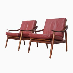 Vintage Leather and Teak Lounge Chairs by Kurt Ostervig for Jason Møbler, Set of 2