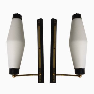 Vintage Brass and Triplex Opaline Glass Sconces from Stilnovo, Set of 2