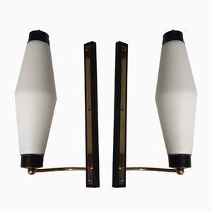 Vintage Messing & Triplex Opalglas Wandleuchten von Stilnovo, 2er Set