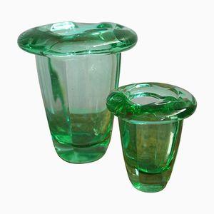 Grüne Vintage Vasen von Daum, 2er Set