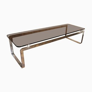 Grande Table Basse Vintage Rectangulaire en Verre Fumé