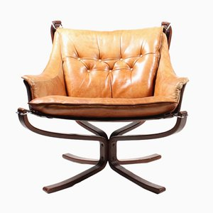 Leather Falcon Chairs by Sigurd Resell for Vatne, 1970s, Set of 2