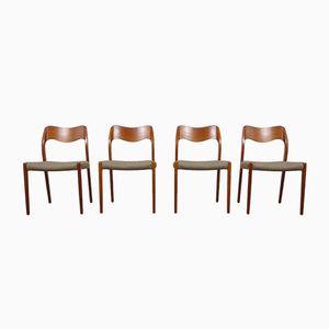 Dänische Modell 71 Teak Esszimmerstühle von Niels Otto Moller für J.L. Møllers, 1960er, 4er Set
