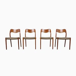 Danish Model 71 Teak Dining Chairs by Niels Otto Moller for J.L. Møllers, 1960s, Set of 4