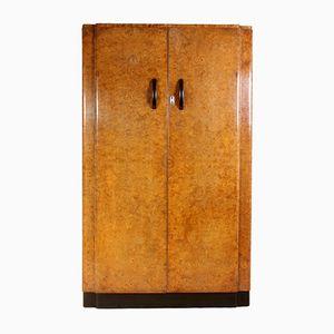 Art Deco Herren Garderobe aus Walnuss Wurzelholz mit Zwei Türen