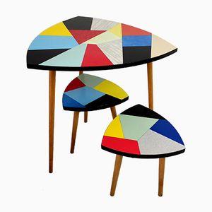 Farbige Tisch mit Zwei Stühle, 1960er