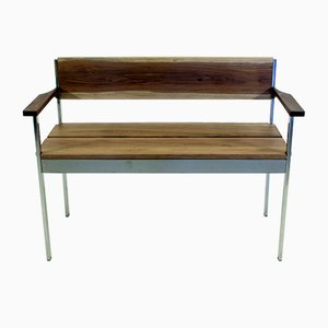 Vintage Bench in Chrome and Walnut