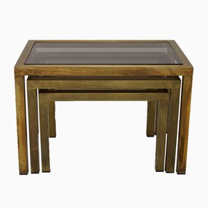 Nesting Tables with Smoked Glass Tops, 1970s