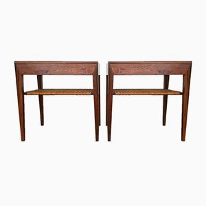 Mid-Century Danish Rosewood and Cane Bed Side Tables by Severin Hansen for Haslev, Set of 2