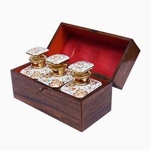 Antike Handbemalte Pariser Porzellan Teebüchsen in Holzkiste aus 19. Jahrhundert