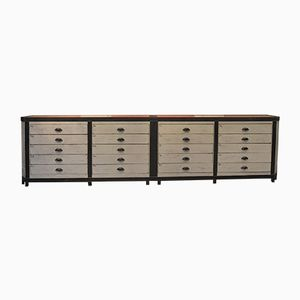 Vintage Fir Shop Counter with Grey Drawers