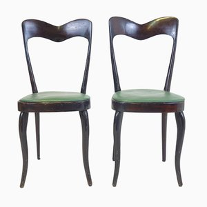 Italienische Grüne Kunstleder Stühle, 1950er, 2er Set