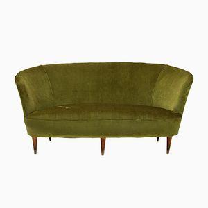 Italian Green Velvet Sofa, 1940s