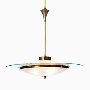 Chandelier à Trois Lampes en Verre Texturé et Laiton, 1940s
