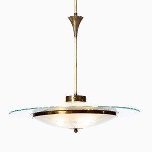 Kronleuchter mit Drei Leuchten aus Strukturiertem Glas & Messing, 1940er